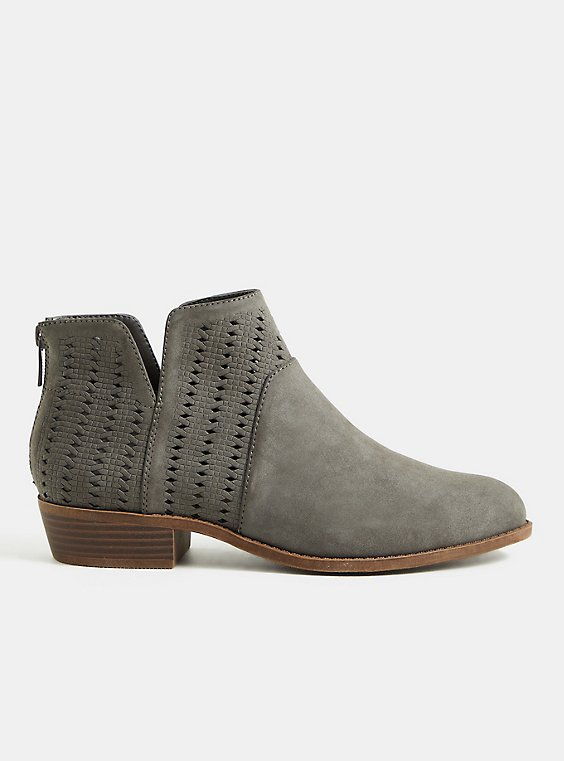 Charcoal Grey Ankle Bootie (WW), CHARCOAL, hi-res