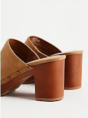 Light Brown Faux Suede Studded Clog (WW), BROWN, alternate