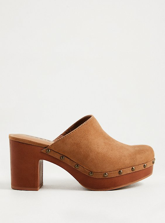 Light Brown Faux Suede Studded Clog (WW), , hi-res