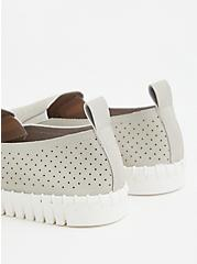Grey Faux Leather Perforated Sneaker (WW), GREY, alternate