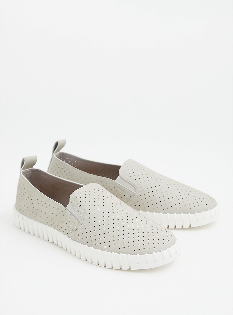 Grey Faux Leather Perforated Sneaker (WW), GREY, hi-res