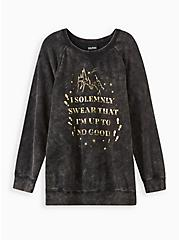 Harry Potter Solemnly Swear Mineral Wash Raglan Sweatshirt , DEEP BLACK, hi-res