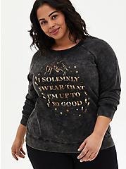 Plus Size Harry Potter Solemnly Swear Mineral Wash Raglan Sweatshirt , DEEP BLACK, hi-res