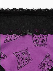 Purple Cats Wide Lace Cotton Cheeky Panty , EPHEMERAL FELINES, alternate