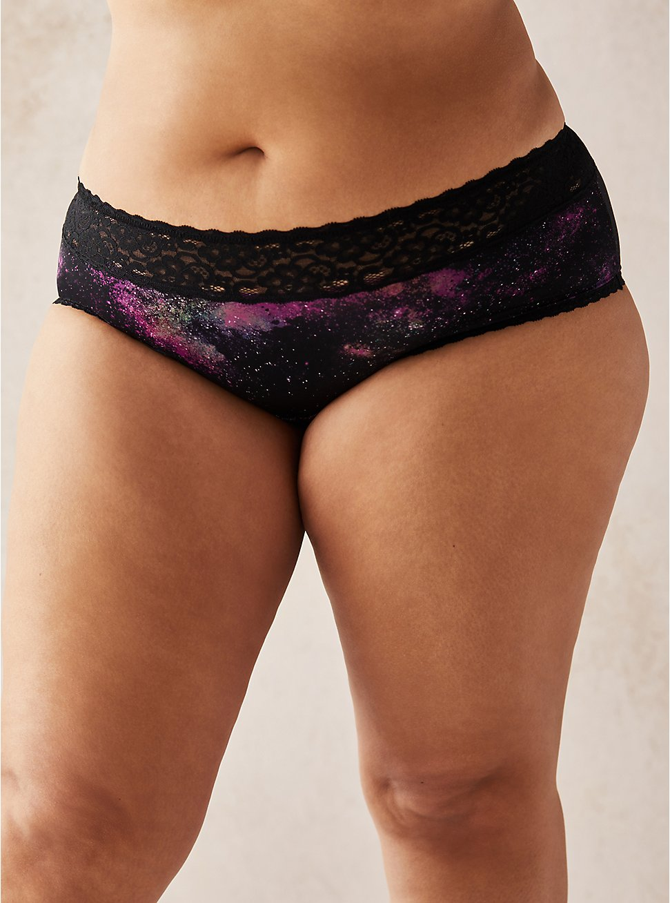 Galaxy Second Skin Hipster Panty , BRIGHT GALAXY- BLACK, hi-res