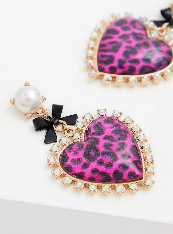 Betsey Johnson Pink Leopard Heart Statement Earrings, , hi-res