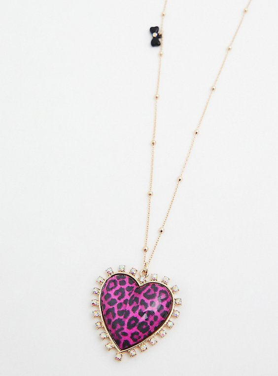 Betsey Johnson Pink Leopard Heart Pendant Necklace, , hi-res