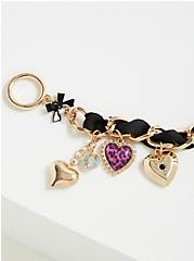 Betsey Johnson Gold-Tone Heart Charm Bracelet, MULTI, alternate