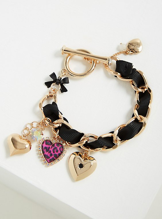 Betsey Johnson Gold-Tone Heart Charm Bracelet, MULTI, hi-res