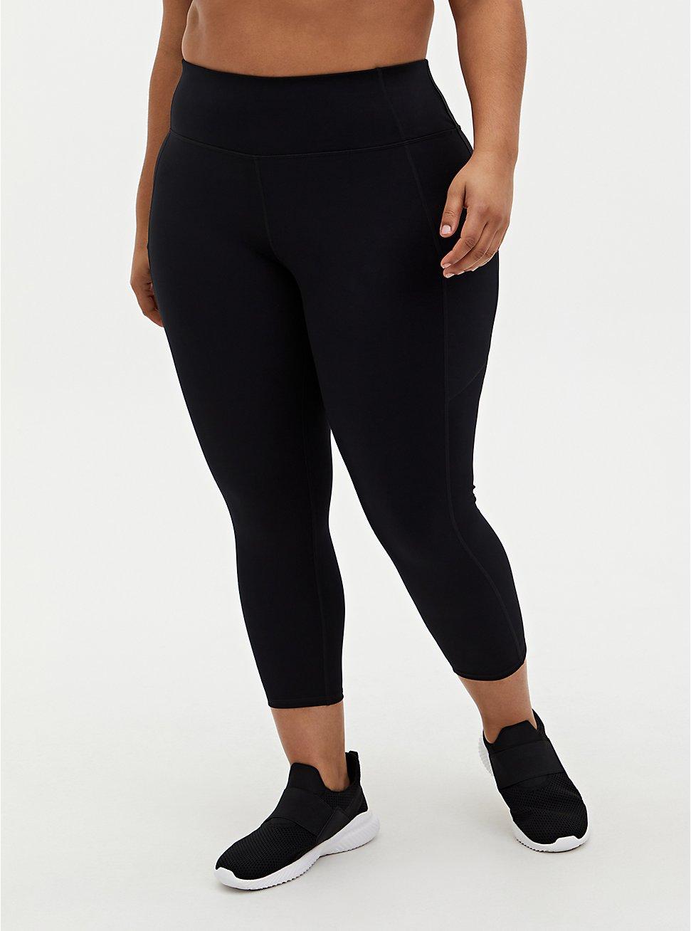 Black Crop Active Lightweight Legging with Pockets, BLACK, hi-res