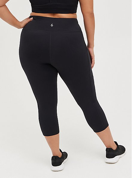 Black Capri Active Lightweight Legging with Pockets, BLACK, alternate