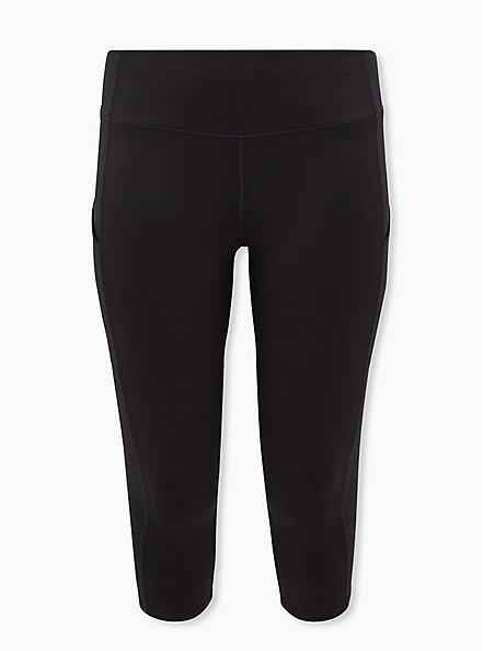 Black Capri Active Lightweight Legging with Pockets, BLACK, hi-res