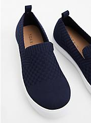 Navy Stretch Knit Slip-On Sneaker (WW), NAVY, hi-res