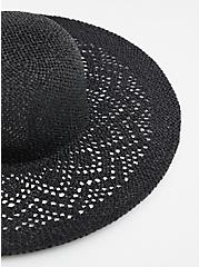Black Open Weave Floppy Hat, BLACK, alternate