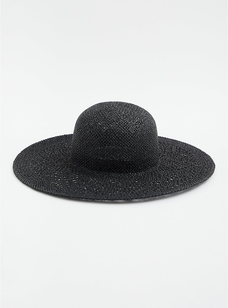 Black Open Weave Floppy Hat, BLACK, hi-res