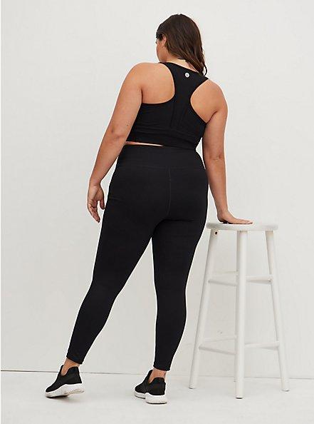 Black Full Length Wicking Active Legging with Trouser Pockets, DEEP BLACK, alternate
