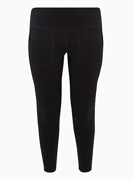 Black Full Length Wicking Active Legging with Trouser Pockets, DEEP BLACK, hi-res