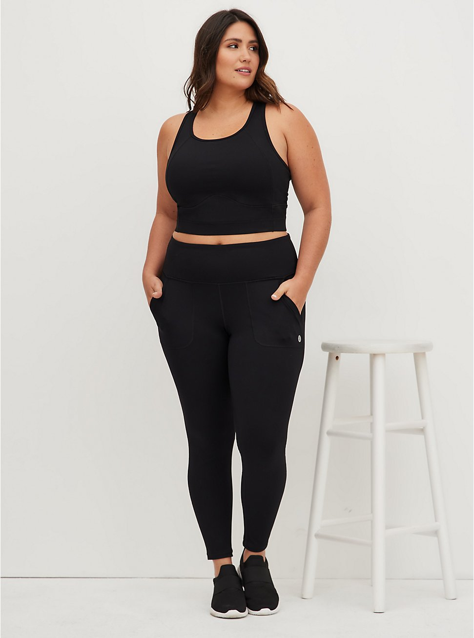 Black Full Length Wicking Active Legging with Trouser Pockets, DEEP BLACK, hi-res