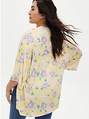 Yellow Floral Hacci Kimono, FLORAL - YELLOW, alternate