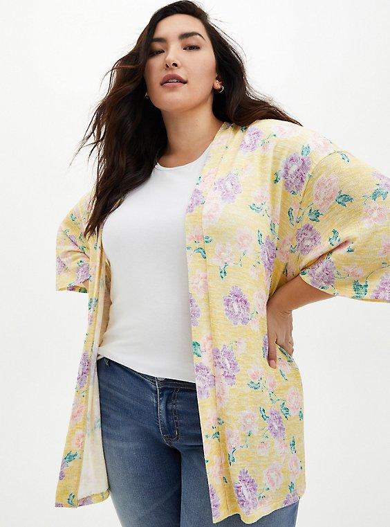 Yellow Floral Hacci Kimono, FLORAL - YELLOW, hi-res