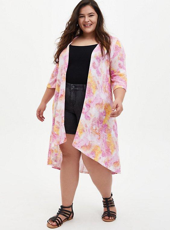 Plus Size Multi Watercolor Hacci Kimono, MULTI, hi-res