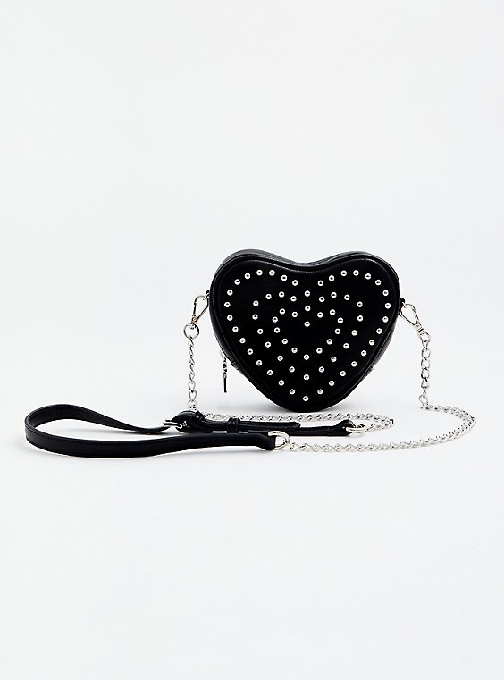 Betsey Johnson Black Faux Leather Studded Heart Crossbody Bag, , hi-res