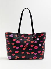Betsey Johnson Black Lips Tote Bag With Heart Tag, , alternate