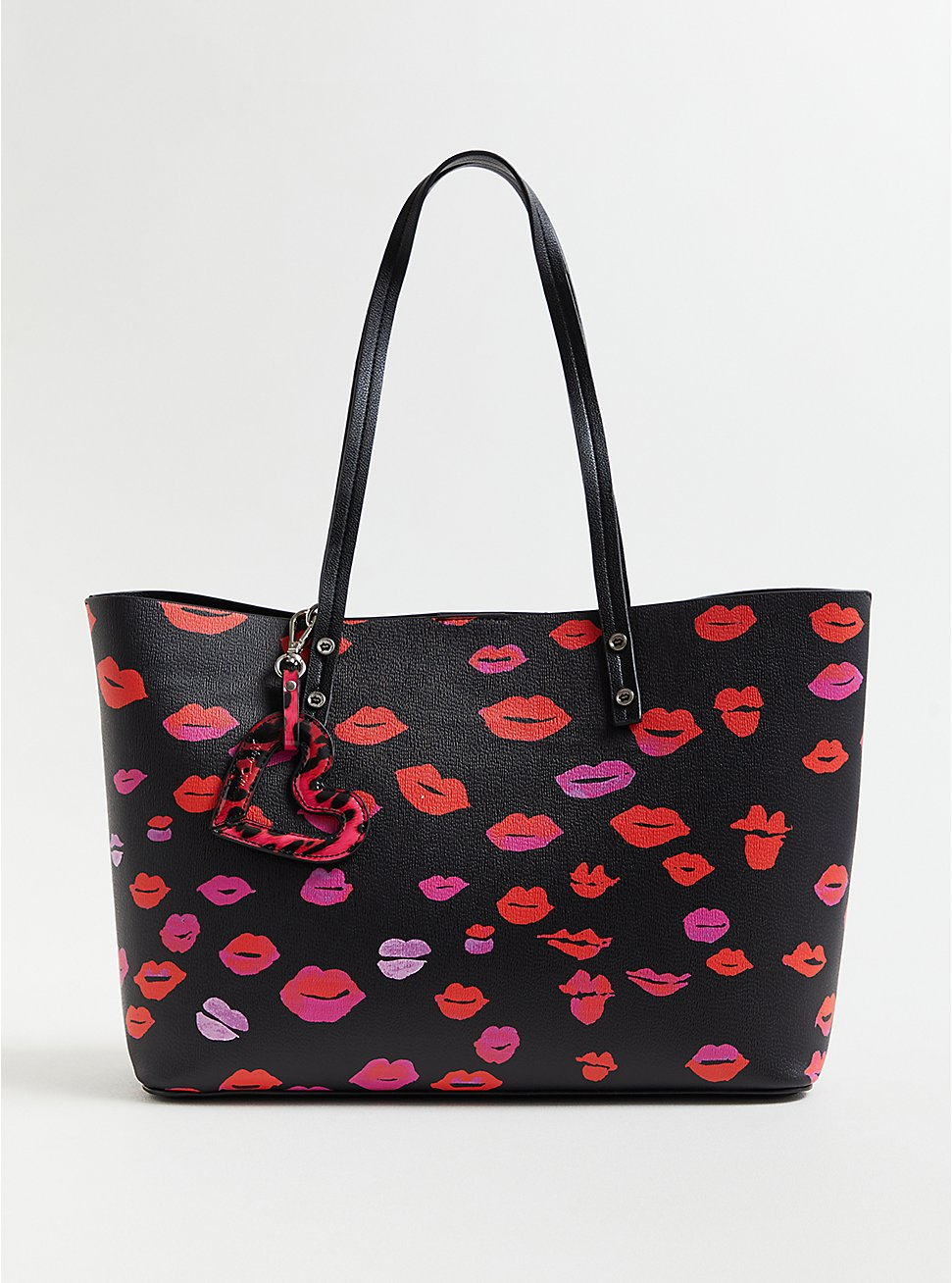 Betsey Johnson Black Lips Tote Bag With Heart Tag, , hi-res