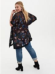 Black Floral Velvet Burnout Kimono, FLORALS-BLUE, alternate
