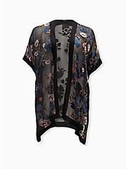 Black Floral Velvet Burnout Kimono, FLORALS-BLUE, hi-res