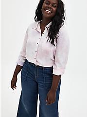 Pink Tie-Dye Twill Button-Up Shirt, TIE DYE-PINK, hi-res