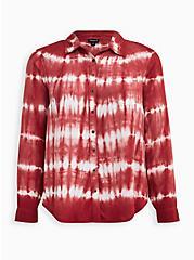 Red Tie-Dye Twill Button-Up Shirt, TIE DYE-PINK, hi-res