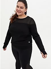 Black Cupro & Mesh Active Sweatshirt, BLACK, hi-res
