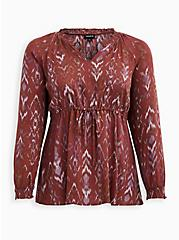 Red Ikat Gauze Peasant Blouse, IKAT - PINK, hi-res
