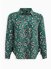 Madison - Green Floral Georgette Button Front Blouse, FLORAL - GREEN, hi-res