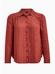 Madison - Dusty Orange Leopard Jacquard Button Front Blouse, RED, hi-res