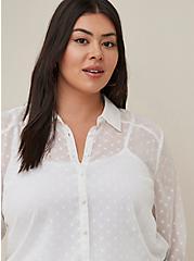 Madison - White Chiffon Clip Dot Button Front Blouse, CLOUD DANCER, alternate