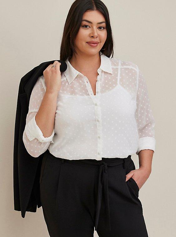 Madison - White Chiffon Clip Dot Button Front Blouse, CLOUD DANCER, hi-res