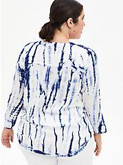 Harper - Blue Ikat Tie-Dye Pullover Blouse, TIE DYE-BLUE, alternate