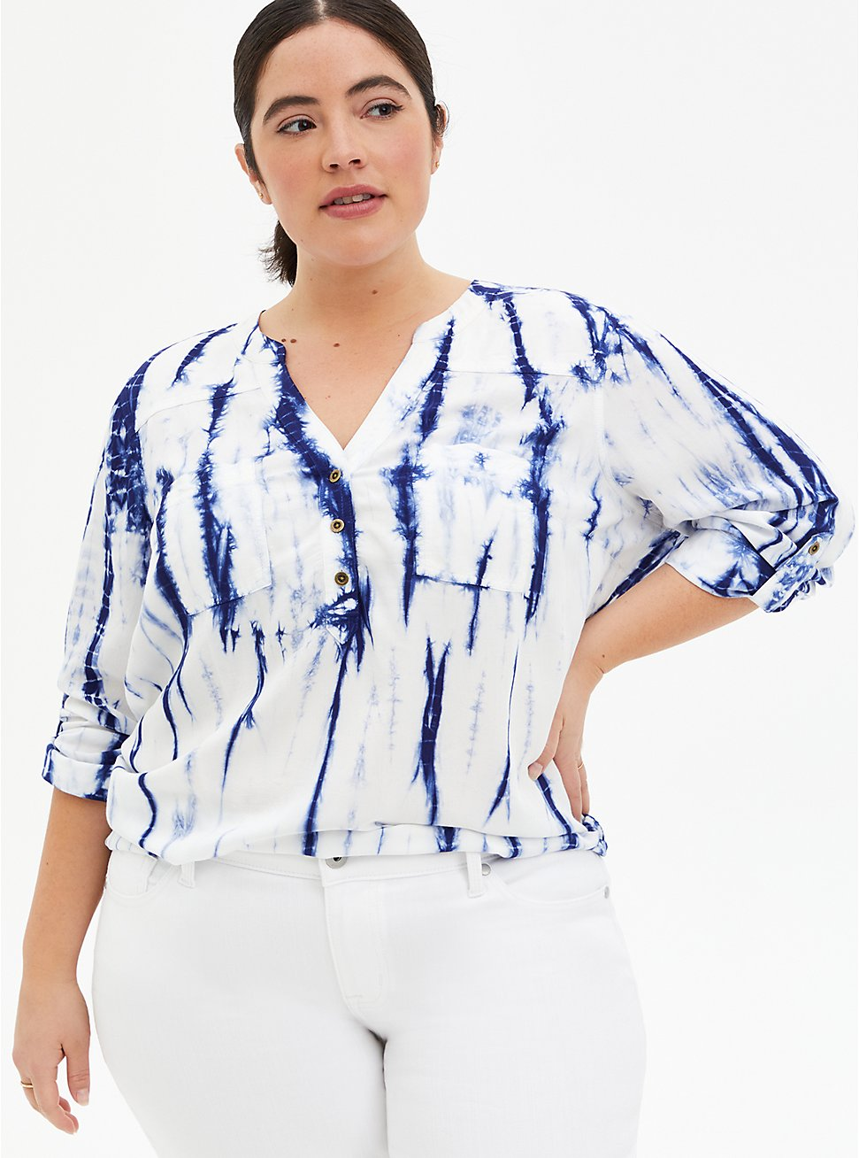Harper - Blue Ikat Tie-Dye Pullover Blouse, TIE DYE-BLUE, hi-res