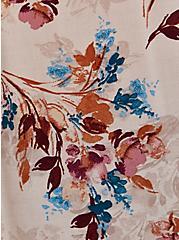 Light Taupe Floral Challis Dolman Blouse , FLORAL - TAN, alternate