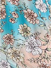 Teal Floral Crinkle Gauze Cold Shoulder Blouse, FLORAL - TEAL, alternate