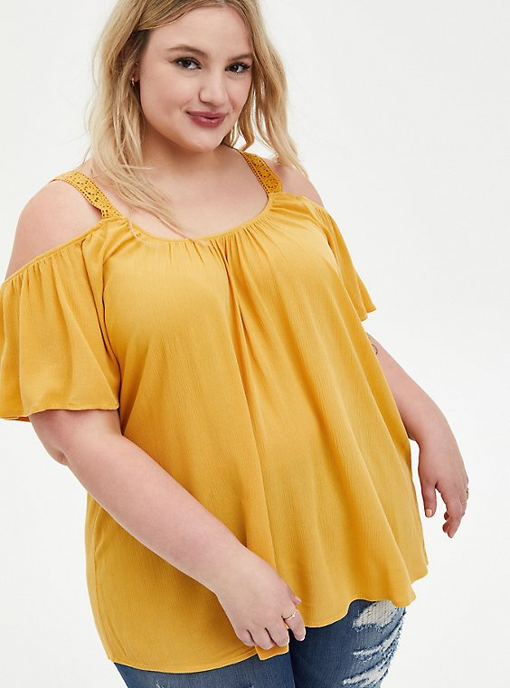 Golden Yellow Crinkle Gauze Cold Shoulder Blouse, IKAT - YELLOW, hi-res