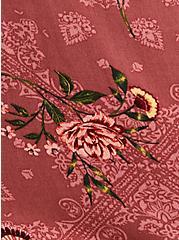 Dusty Rose Floral Gauze Smocked Surplice Blouse, FLORAL - PINK, alternate