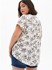 White Floral Gauze Pullover Blouse , FLORAL - WHITE, alternate
