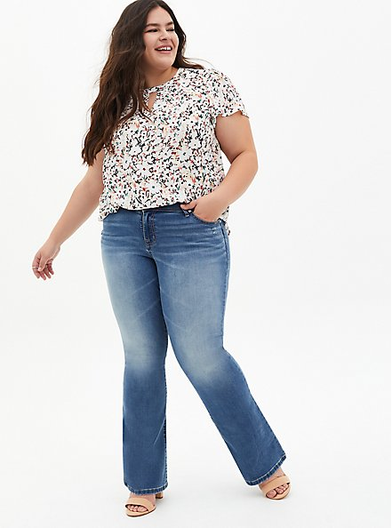 White Floral Georgette Keyhole Blouse, DITSY - MULTI, alternate