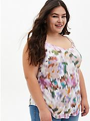 Ava - White Floral Stretch Challis Cami , IKAT - WHITE, hi-res