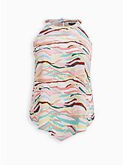 Bright Camo Georgette Handkerchief High Neck Top, CAMO - WHITE, hi-res