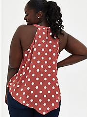 Rust Orange Dot Georgette Handkerchief High Neck Top, , alternate