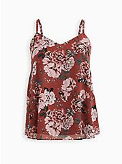 Sophie - Dusty Rose Floral Chiffon Double Layer Swing Cami, FLORAL - PINK, hi-res